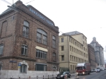 Fabriksgebäude Jugendstil-Schriftzug