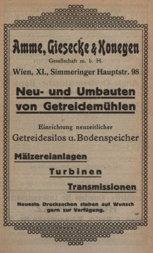 Werbeanzeige Amme, Giesecke und Konegen, Aus: Wiener Kommunalkalender, 1919, Anzeige, Seite 24